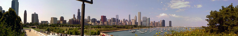 Click for larger options.  <br /> <br /> This is looking N-NW from the terrace in front of the Shedd Aquarium.