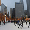 USA Chicago-Illinois-IL-Winter-Millenium Park-public skating rink- McCormick Tribune Plaza & Ice Rink