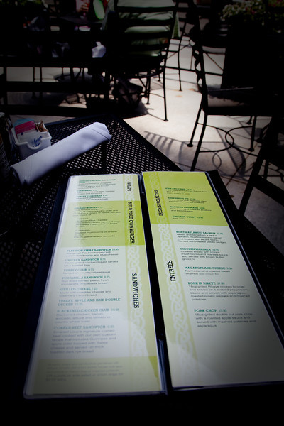 The menu from the Emerald Loop Irish Bar and Grill