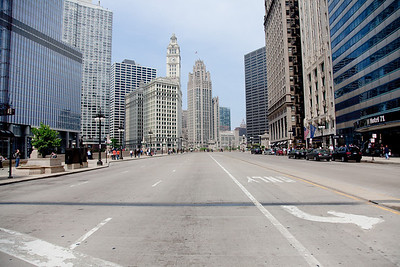 N Wacker Drive.  Our hotel, Hotel 71 is on the right, across the street from the new Trump hotel.