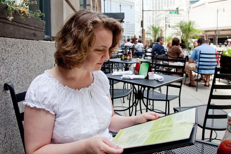 Tracey perusing the menu