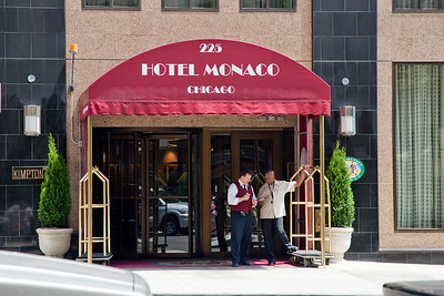 Doors to Hotel Monaco directly across from the Emerald Loop