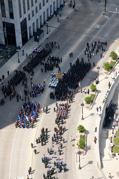 Memorial Day Parade as seen from the 35th floor of Hotel 71