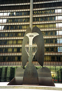 "<div CLASS=""Caption""><a href=""http://www.chipublib.org/004chicago/timeline/picasso.html"" target=""_Ricky"">     Picasso Statue</a> 			<div class=""Location""> 	    Outside the court building downton, <a href=""http://www.yahoo.com/Regional/U_S__States/Illinois/Cities/Chicago/"" target=""_Ricky"">Chicago</a>, <a href=""http://www.yahoo.com/Regional/U_S__States/Illinois/"" target=""_Ricky"">IL</a></div></div>     <div CLASS=""Detail"">     Here is that world-famous <a href=""http://dir.yahoo.com/Arts/Visual_Arts/Painting/Artists/Masters/Picasso__Pablo__1882_1973_/"" target=""_Ricky"">Pablo Picasso</a>     statue that is in the middle of downtown. You may have seen Jake and Elwood run by     it a lot at the end of <em><a href=""http://dir.yahoo.com/Entertainment/Movies_and_Film/Titles/Musicals/Comedy/Blues_Brothers__The/"" target=""_Ricky"">The     Blues Brothers</a>.</em> It's supposed to be Picasso's Afgan dog or a baboon of some     sort. I know very little about art, and this is just another one to be added to     ""Ricky's List of Pieces of Art That He Doesn't Get.""</div>"