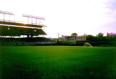 "<div CLASS=""Caption"">     Right Field</div>     <div CLASS=""Detail"">     After we spent some time in Murphy's Bleachers, we     were walking back to the El Train, and a stroke of luck came upon me. One of the     greens-keepers was exiting from a big external door at field level and I talked him into     letting me go stand on the right field warning track and take pictures of the sunset.     Bitchin'.</div>"