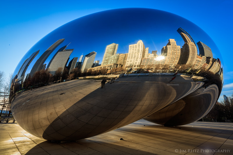 "The Bean. Properly known as the ""C;loud Gate"" sculpture in Chicago's Millenium Park."