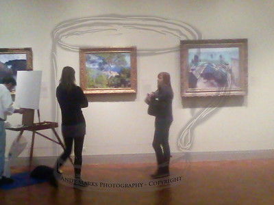 """This Samsung phone camera is amazing. Enter the """"Impressionist"""" gallery and it switches to """"impressionist"""" mode. MVP and a stranger are checking out the Claude Monet paintings while an art student sets up.. 20Oct10  The cell phone """"camera"""" is so bad I almost threw these images away. Sliding """"Clarity"""" a little to the left makes the photo resemble the paintings though, so..."""