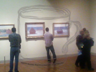 """An impressionism-styled photo of TC in the Art Institute's """"Impressionist"""" gallery, featuring here Monet's Haystacks series. 20Oct10"""