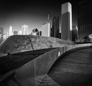 The Frank Gehry-designed BP pedestrian bridge in Chicago's Millenium Park.