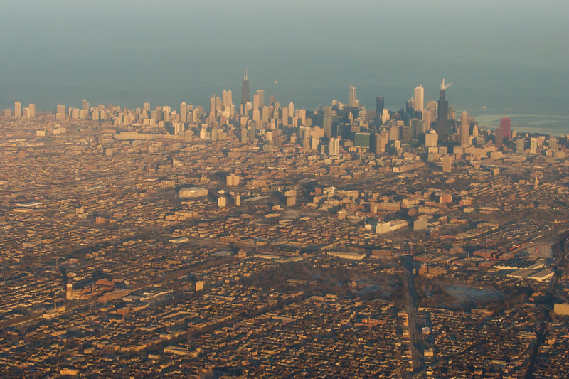 Chicago basks in the golden glow of the last day of 2008.