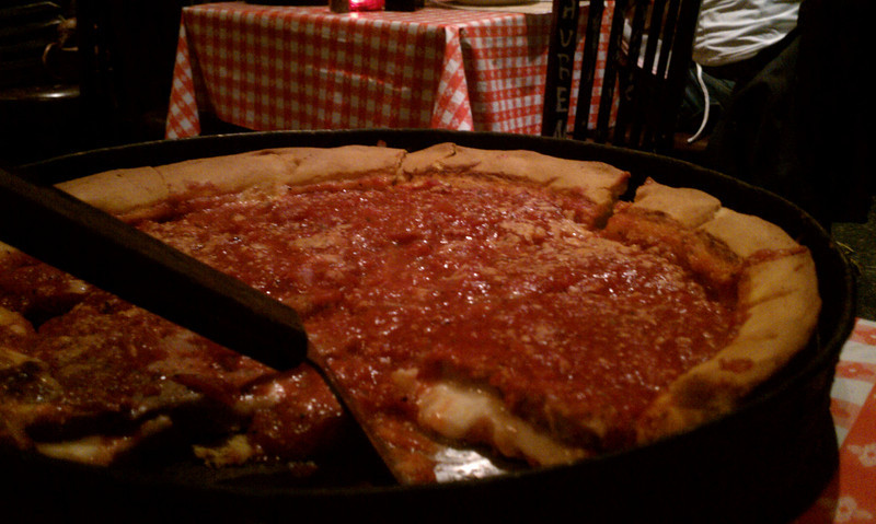 Gino's famous deep dish pizza