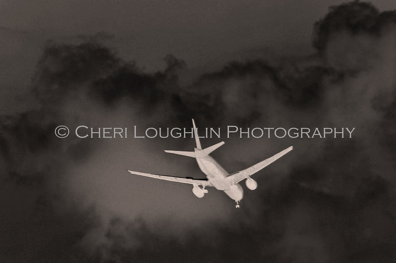 Plane in Flight BW