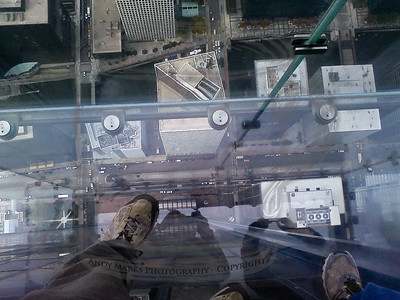 My shoes and the view to the street about 1300' below from the Sears Tower SkyDeck Ledge. The first step is the hardest. 20Oct10