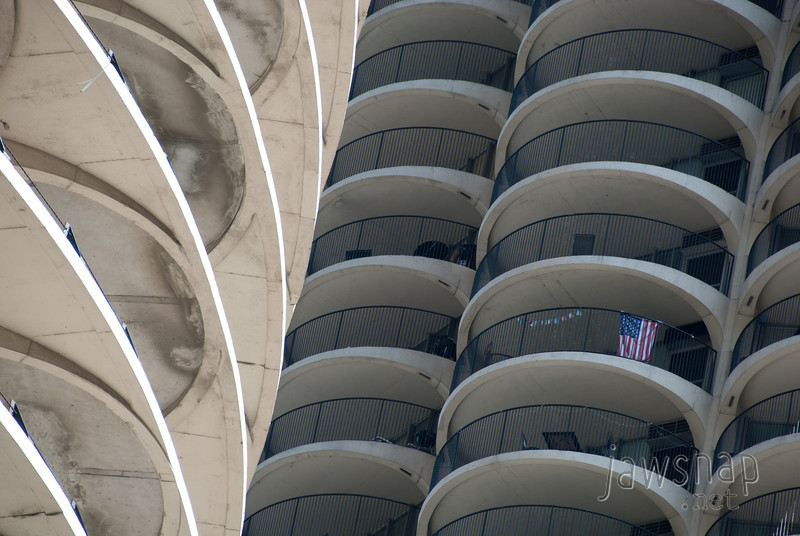 "<span id=""title"">Marina City Patriotism</span> There's so much going on in the corncob-like Marina City towers, so I focused on whatever I could."