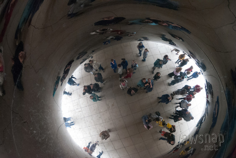 """<span id=""""title"""">Self Portrait 1</span> Directly underneath, in the center of Cloud Gate, there's a spot where it becomes a non-distorted mirror. Can you see me and my wife, pointing the camera up?"""