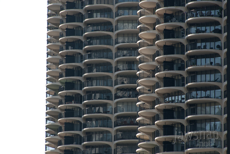 "<span id=""title"">Marina City</span> A side view of the Marina City towers. They were finished in 1964."