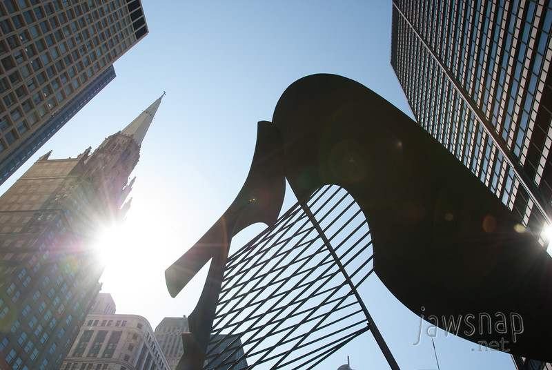 """<span id=""""title"""">Picasso Sculpture</span> This abstract sculpture sits in front of the Daley Center, and was created by Pablo Picasso. It's pretty cool and random."""