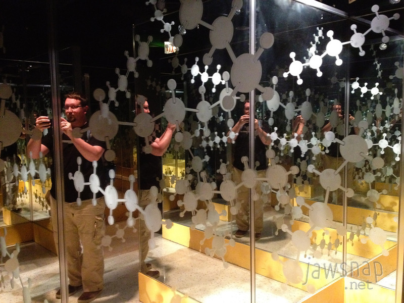 "<span id=""title"">Molecule Maze</span> I couldn't resist getting a quick self portrait in this mirror maze."