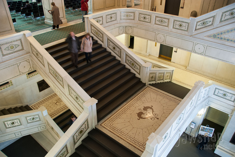 """<span id=""""title"""">Ornate Staircase</span> This is the main staircase in the Chicago Cultural Center, which used to be the main public library. It's ridiculously nice, with fancy mosaics on every surface, even the underside of the staircases."""