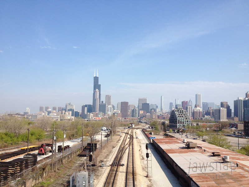 "<span id=""title"">Skyline Farewell</span> And finally, let's end it with a skyline shot. I took this with my phone out the window of the train that took us back to Midway airport."