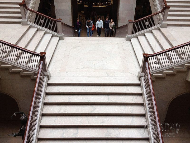 """<span id=""""title"""">Grand Staircase</span> Some art lovers climbing the Grand Staircase at the Art Institute of Chicago. We had to check our bag, so I only got a few iPhone photos inside."""
