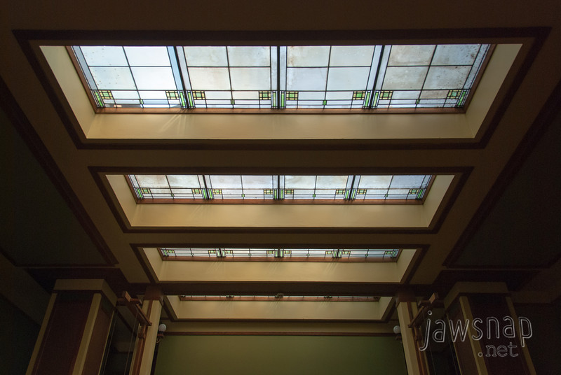 "<span id=""title"">Unity Ceiling</span> The lovely glass ceiling at Unity Temple."