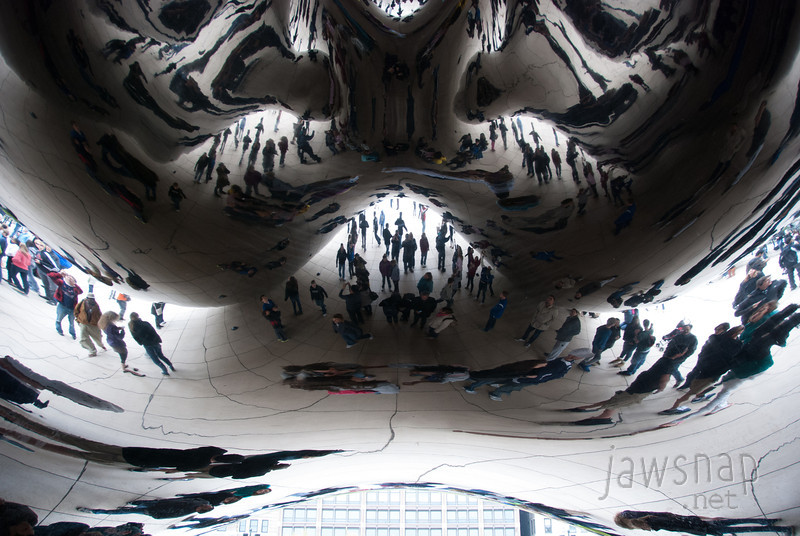 """<span id=""""title"""">Distortion</span> A shot of Cloud Gate, the bean-shaped sculpture in Millenium Park. Every city should have a giant mirror sculpture like this, it's so fun."""