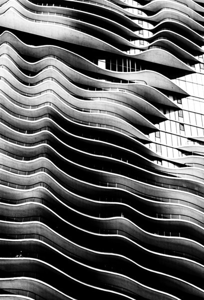 Abstract view of the Aqua building by Milleneum Park.