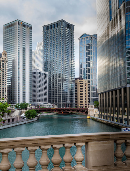 Classic View of the Chicago River from the Michigan Avenue bridge.