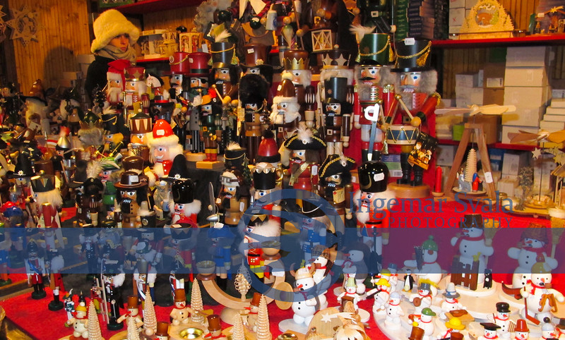 Lots and lots of the classic Nut Crackers. Notice salesperson in upper left..IT was cold.