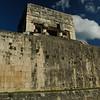 The huge walls at the top where the upper caste of Mayan sat to see the game being played.
