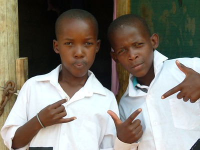 Boys from the village posing for the camera.