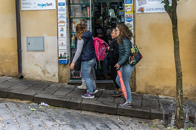children leaving school in Caltagirone