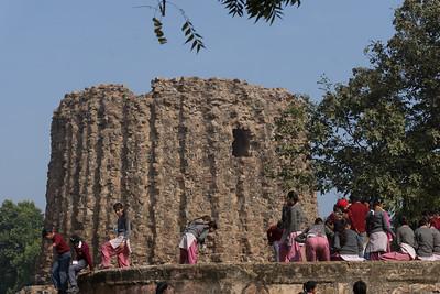 School children enjoying the ruins.