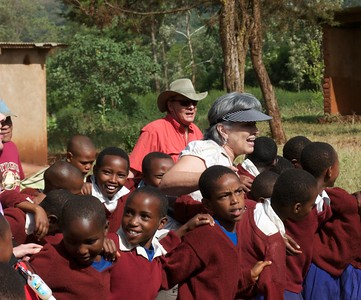 Dancing and singing with the students at Tloma Primary School.