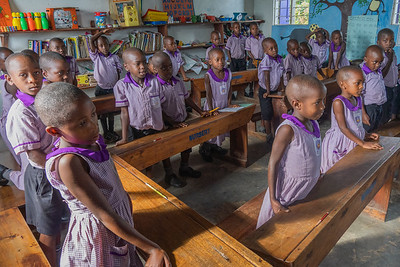The first graders at the Nyaka School which was established to ensure that the children whose parents had dies of AIDS could get an eductaion.  https://www.nyakaschool.org/about.htm