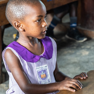 One of the first graders at the Nyaka School