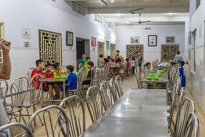Dinner scene at Minh Tu Orphanage, Hue