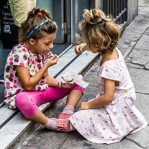 Children sharing gelato in Palermo