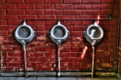 Urinals in a public bathroom in San Jose de Maipo, Chile.