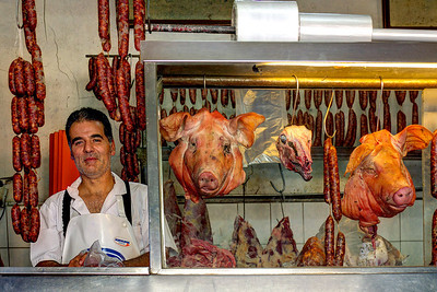 Butcher shop in Rancagua, Chile. Yum!!! Unfortunately this butcher shop was totally destroyed during the 2010 earth quake (8.8 on the Moment Magnitude Scale, developed in the 1980s to replace the Richter Scale).