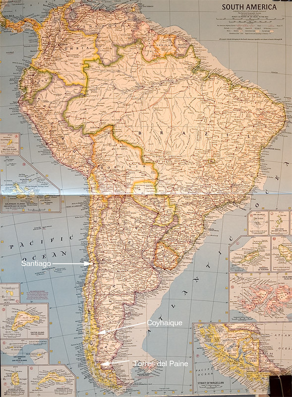 Map of South America. The fishing lodge is near Coyhaique.