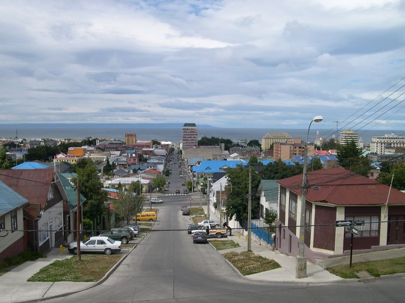 View of Punta Arenas; Strait of Megellan in background at the  southern tip of South America.