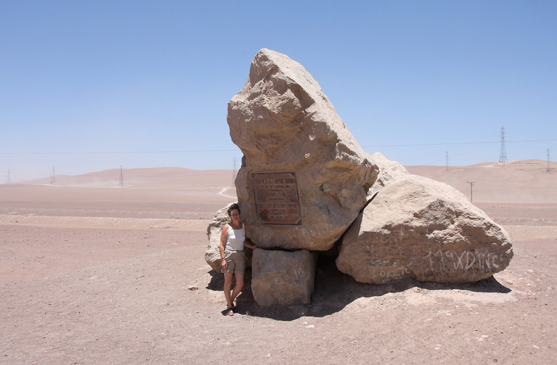 Clara at the monument indicating the passage of the tropic of capricorn - 23° 26′ 22″ south
