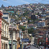 Valparaiso is built against multiple hills - with many colorful houses
