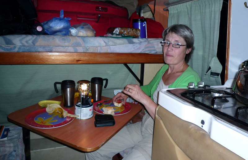 Enjoying our evening dinner in the camper