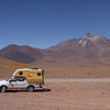 Enjoying a cup of coffee in our camper at the foot of the Miniques volcano at a height of about 4000 meters.