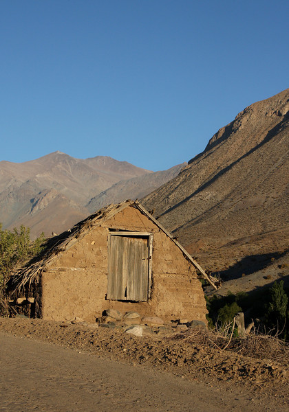 Little shed in Hurtado valley built with adobe stones