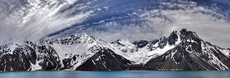 Another one from Chile - panoramic view of the Yeso embalse on our first day in Chile. This is a panoramic merge of 4 pictures, with some hdr added to it