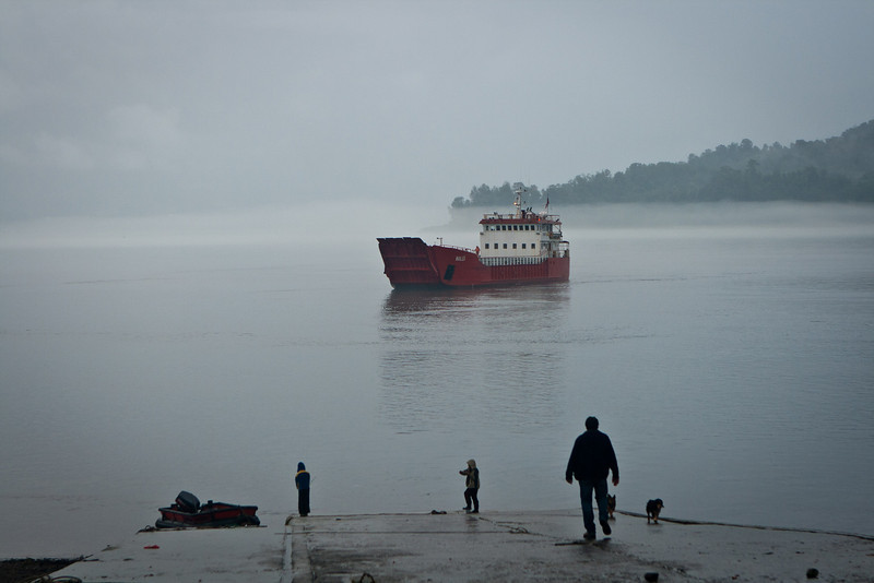 My ferry boat, the Picoya, in the Hornopirén harbor. Chile.